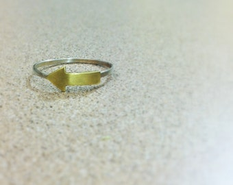 Arrow Brass Sterling Silver Ring by Bunnycone