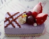 SALE - Felt Cake Handmade with Strawberries and Grapes - Tea Party Toy or Decoration - Photographers Prop