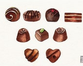 "Chocolate Truffles Original Watercolor Painting - Food Kitchen Art - 5"" x 7"""