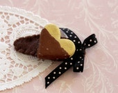SALE Baby Girl Cookie Hair Clip - Chocolate Heart