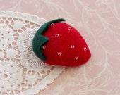 SALE Baby Girl or Woman Strawberry Felt Hair Clip -  Summer Fruit Handmade Felt