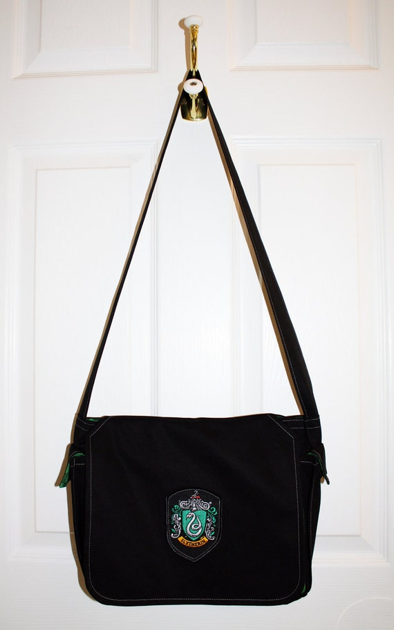 Harry Potter Book Bag : Harry potter slytherin book bag by thefoxnfawn on etsy