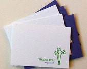 Set of 3 thank you notes with flowers