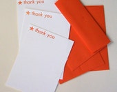Set of 3 thank you notes with orange star