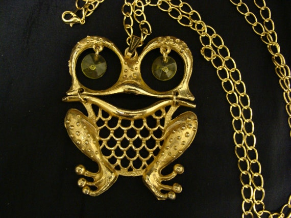 Vintage Jointed Frog Necklace