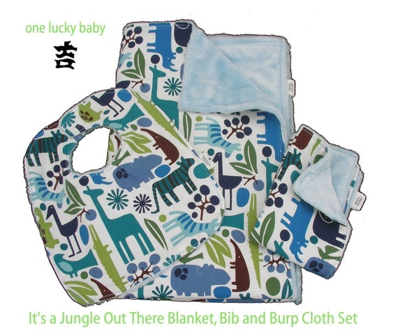 ITS A JUNGLE OUT THERE Minky Blanket, Bib and Burp Cloth Set