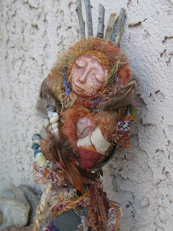 Gaia Mother Nature Nest of Endless Light, Spirit Art Doll ooak