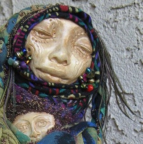 Gypsy Bohemian Art Doll. OOAK Assemblage Cottage Chic