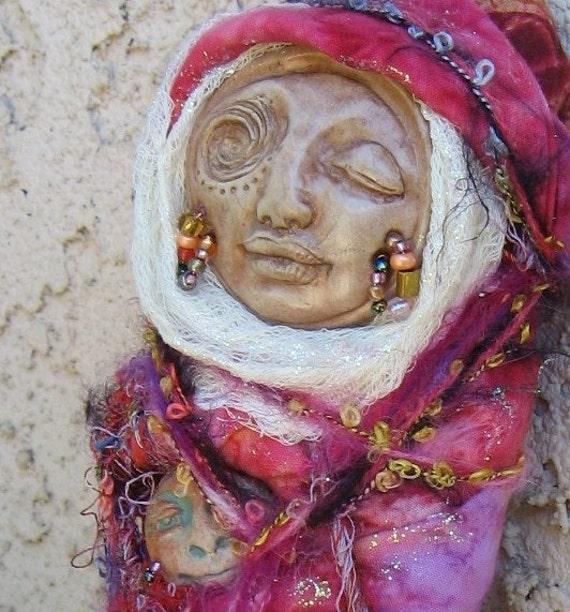 RESERVED Rhiannon, Celtic Moon Goddess,  Gypsy Spirit Art Doll by Griselda  ooak