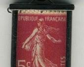 Framed French Postage Stamp Necklace