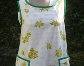 Smock Apron with Yellow Flowers and Green Trim