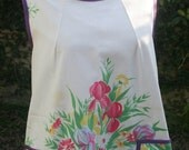 Smock Apron with a Colorful Floral Bouquet
