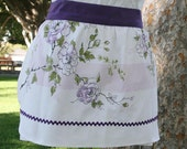 Vintage Tablecloth Skirt Apron with Lavender and Green Floral Design