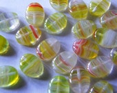 20 Czech Glass Beads Flat Oval Lemonberry 12\/9mm