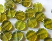 20 Czech Glass Beads Dime Jungle Path 10mm