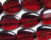 Czech Glass Beads Flat Nuggets Garnet 20\/16mm Reserved for TaLaisa