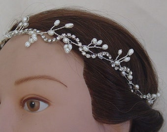 Pearl bridal hair vine wrapped in rhinestone