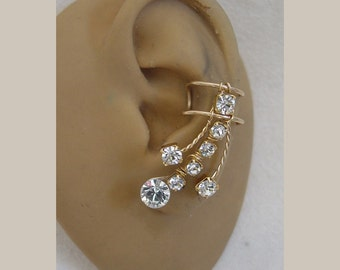 Pair of ear cuffs in Swarvoski crystal rhinestone