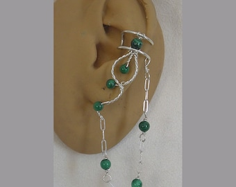 Malachite cuff Pair with chain