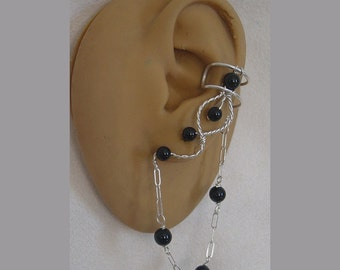 Black Onxy ear cuff Pair with chain