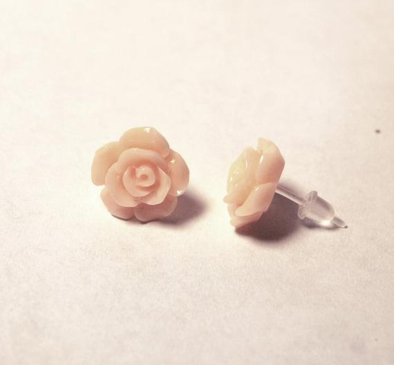 Peachy Rose Earrings for Sensitive Ears Hypoallergenic