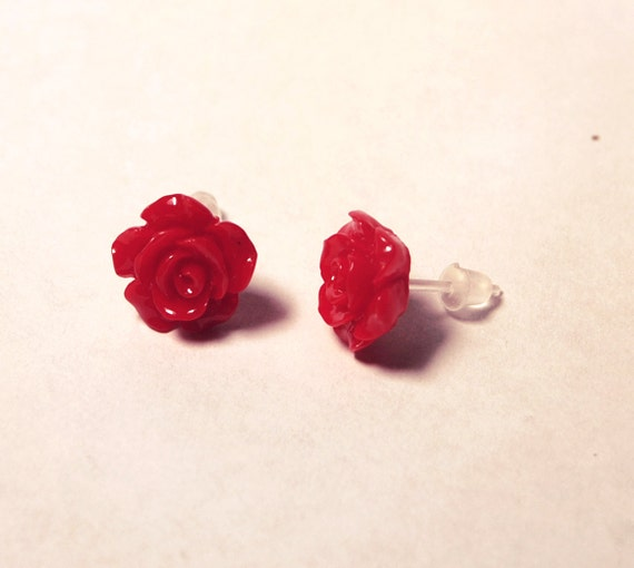 Red Rose Earrings for sensitive ears small hypoallergenic