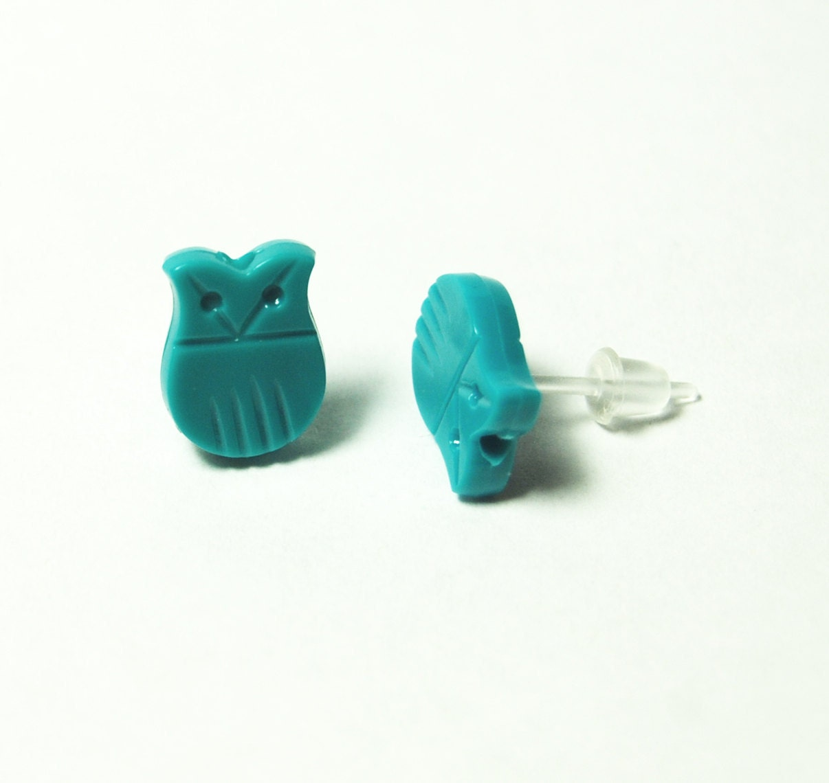 vintage turquoise owl bead earrings with plastic post for