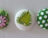 Fabric Covered Push Pins in Green