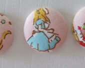 Alice in Wonderland Fabric Covered Push Pins