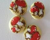 Polka Dot Mushroom Fabric Push Pins