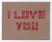 I Love You bacon card in brown