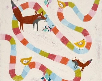 fox and hen chase - limited edition print