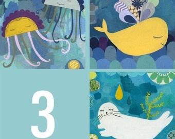 SET OF 3 Sea Animals