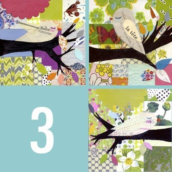 SET OF 3 Collaged Birds