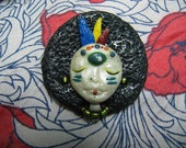 Afro Indian Lady clay pin