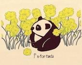 P is for Panda, Alphabet Print - hand screenprinted