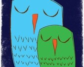 Nursery Art - Owl Family Art Print Giclee - We 3 Owls Goodnight - Sweet Owl Nursery Art Print Poster