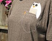 Happy Owl Tshirt - Super Soft Pocket P'Owl Adult Tee - Unisex Size 2XL