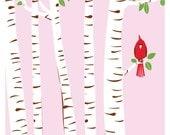 Screenprint Cardinal Art Poster - Summer Cardinal Print - Birch Trees & Red Bird Art Silkscreen Print