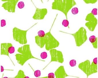 Spring Ginko leaves art print, hand screenprinted - limited edition silk screen