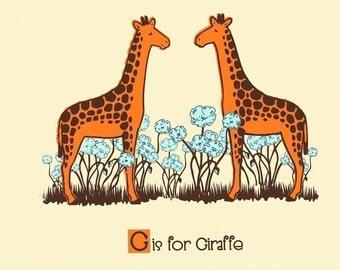 Nursery Print G is for Giraffe Alphabet Print - Screenprint Nursery Art -  Kids Wall Art Silkscreen Animal ABC Poster by strawberryluna