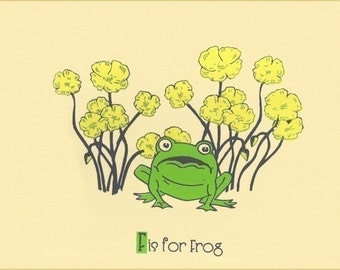 Screenprint Nursery Art - F is for Frog Alphabet Print  - Hand Pulled Animal Art Print