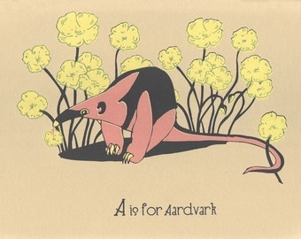 Nursery Art Alphabet Print - A is for Aardvark - hand screenprinted Animal Art Print