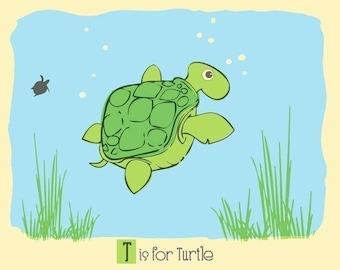 T is for Turtle Screenprint  - Turtle Nursery Print - Alphabet Print - Silkscreen Animal Art Print Kids Wall Art