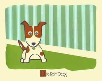 D is for Dog - Kids Wall Art  Alphabet Print Nursery Art - Silkscreen Animal Art Print