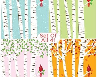 Screenprint Poster Set - Cardinal Bird Seasons & Birch Trees Art Print Posters - 4 Seasons Print Set