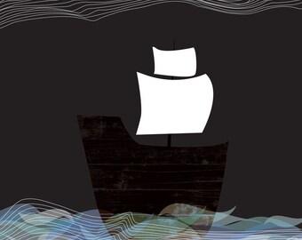 Giclee Ship Print - Ghost Ship By Night - Nautical Boat Art Print Sea Voyage Art