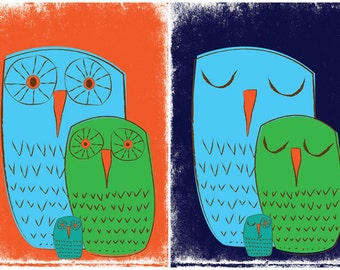 Owl Family Art Print Set Giclees - We 3 Owls Art Prints - Nursery Kids Room Wall Art by strawberryluna