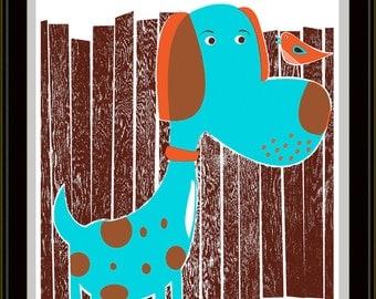 Bird Dog & Bird Modern Nursery Art - hand screen printed art print poster