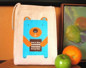 Eco Friendly Lunch Bag - Lunch Bear - 100% Recycled Cotton Canvas lunch tote